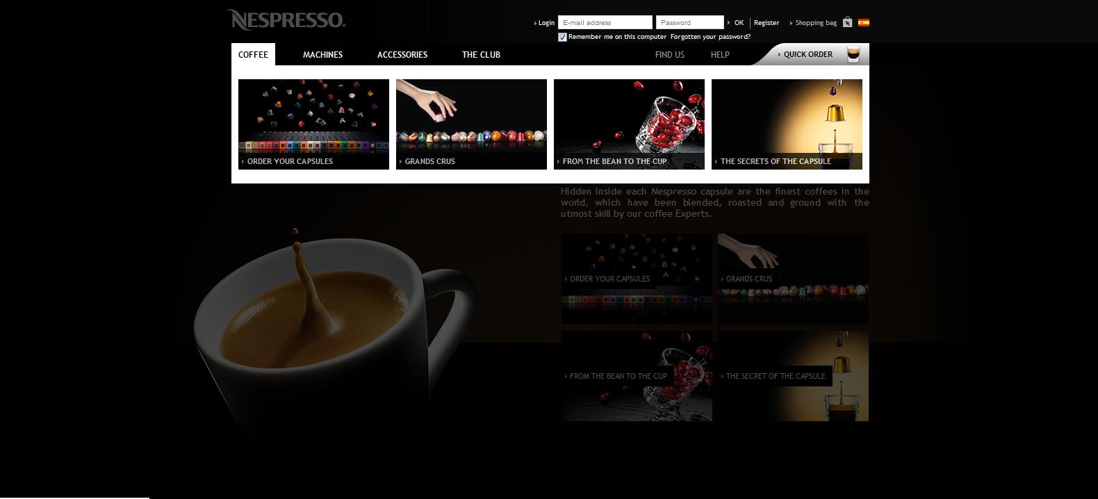 artinCom web Nespresso color negro
